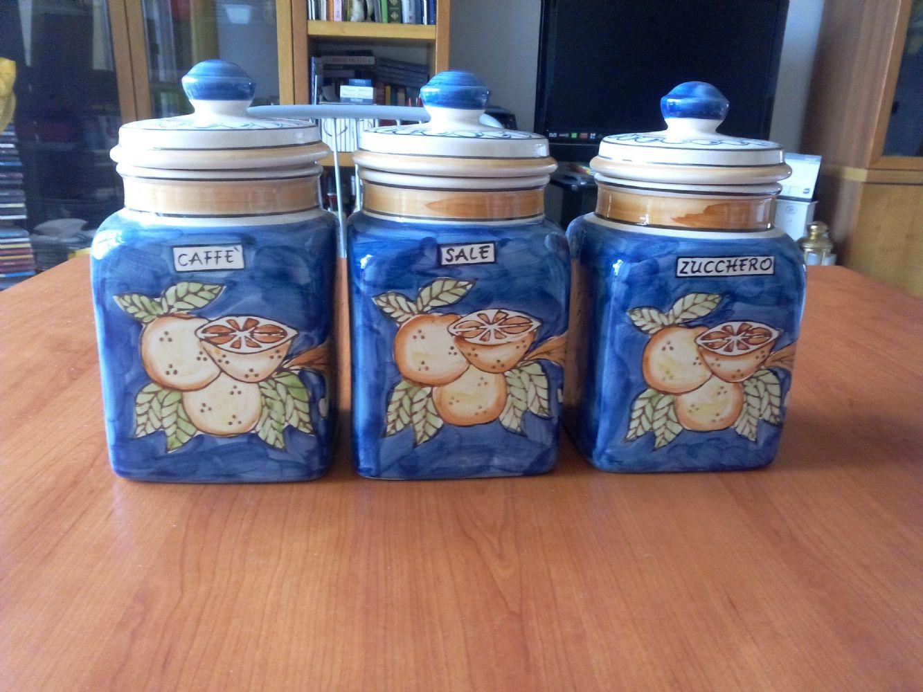 Baratto scambio tris barattoli ceramica arredamento for Porta zucchero caffe sale