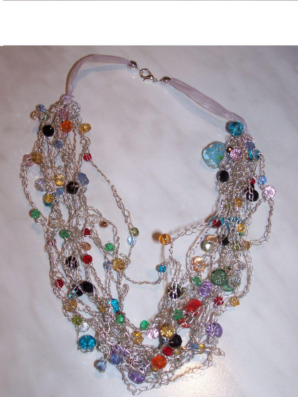 design di qualità 5ba60 38b23 Collana uncinetto con perline