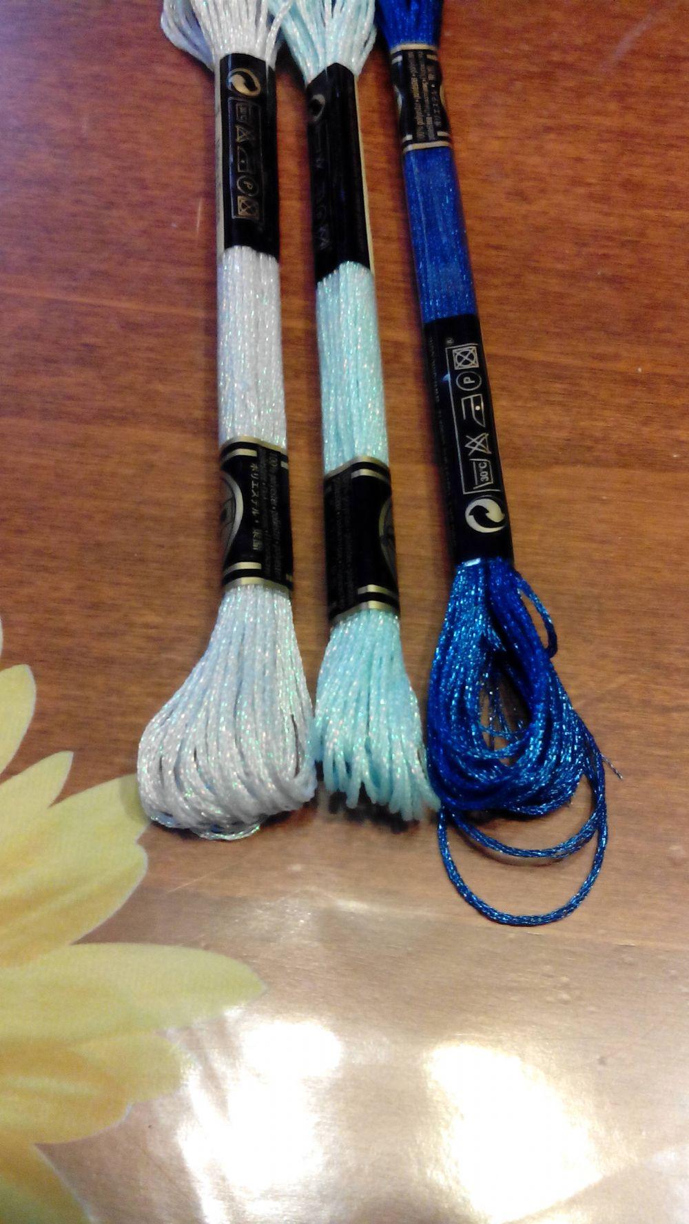 Colorati D Azzurro Chiaro fili ricamo effetto brillante
