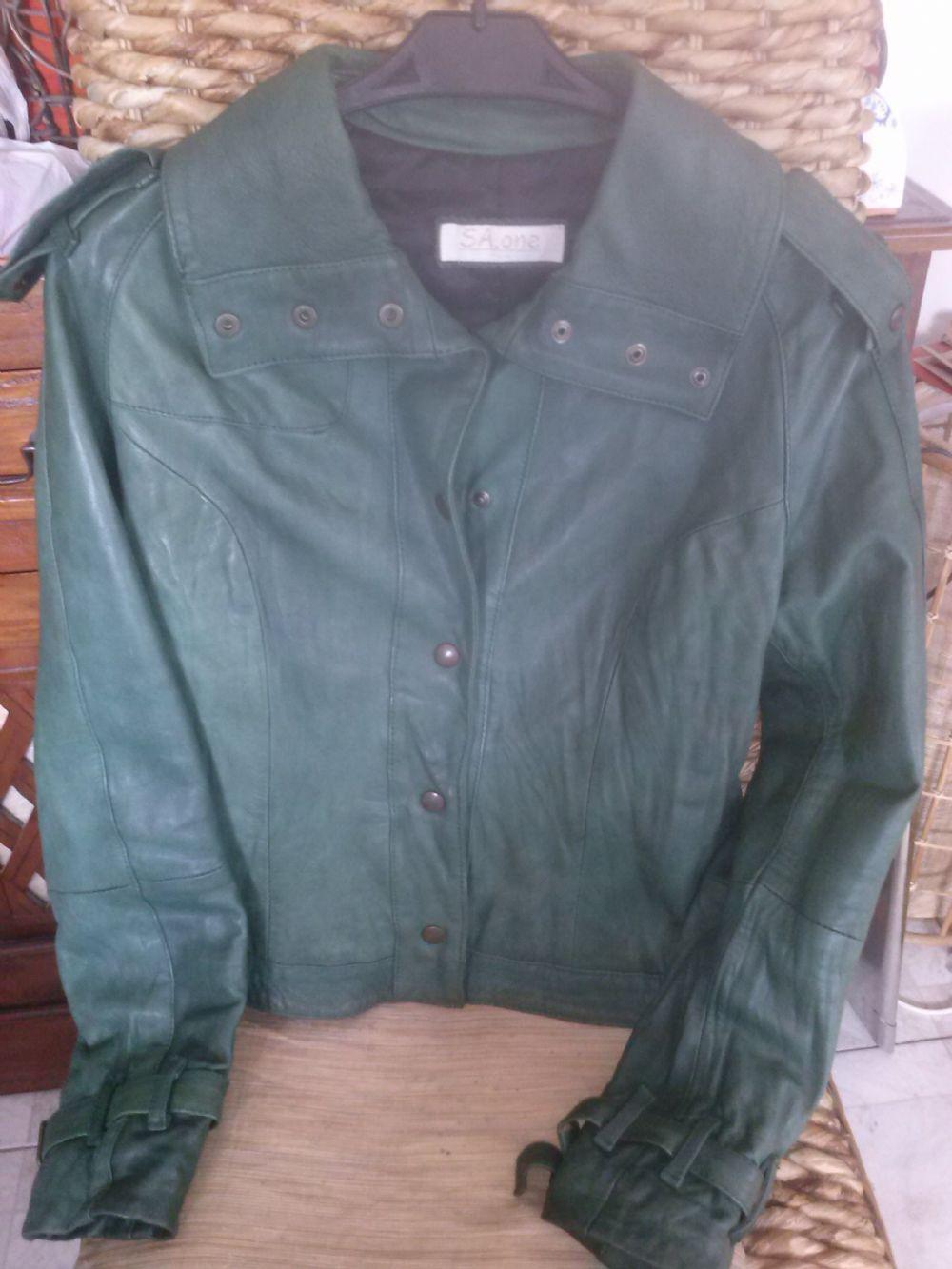 buy popular 17bfb 759ce giubbotto pelle verde tg S