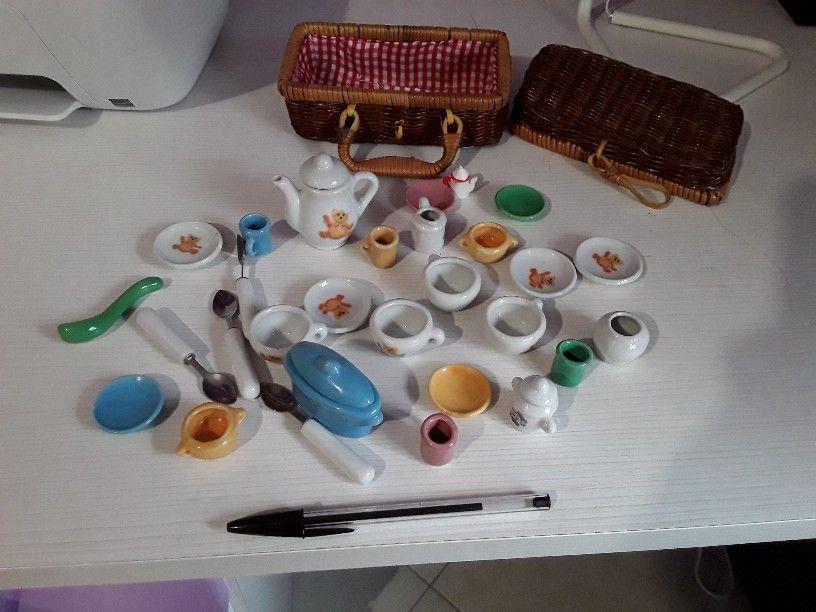 teiera 17 pezzi Cesta in vimini per picnic con set tazzine